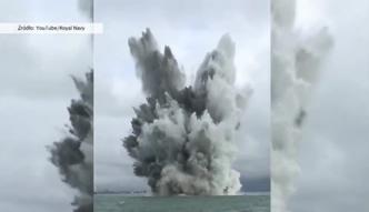 Detonacja miny z czasów II wojny światowej