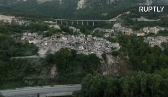 Miejscowość Pescara del Trono po katastrofalnym trzęsieniu ziemi we Włoszech. Zdjęcia z drona