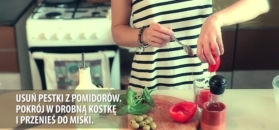 Tatar z pomidorów i oliwek z mozzarellą