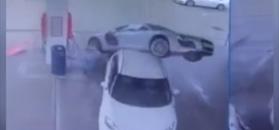 Spektakularny wypadek na stacji benzynowej