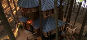 """""""Dom na pniu"""": piętrowa chatka z wieżyczką"""