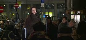 Beata Tadla protestowała pod redakcją TVP