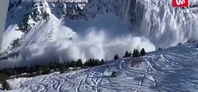 Lawina obok stoku. Nagranie narciarza