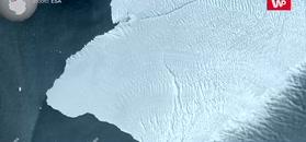 Szczelina na lodowcu szelfowym. Nagranie z satelity