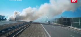 Pożar w volvo na A2. Nagranie strażaków