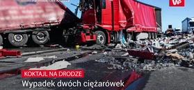 Koktajl na drodze. Wypadek dwóch ciężarówek