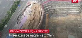 Droga zawaliła się na budowę. Przerażające nagranie z Chin