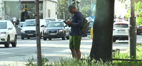 Piotr Stramowski chłodzi się pod drzewem, czekając na taxi