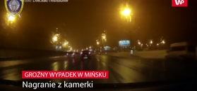 Groźny wypadek z Mińsku. Nagranie z kamerki