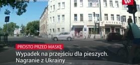 Wypadek na przejściu dla pieszych. Nagranie z Ukrainy