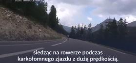 #dziejesiewsporcie: ekstremalny zjazd w Tour de France. Kolarz z kamerą na klatce piersiowej