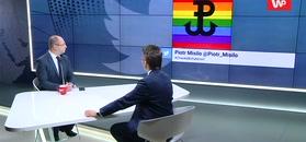 Polska Walcząca na tle tęczy. Adam Bielan w programie