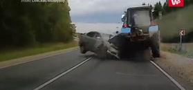 Kierowca nagle zjechał z pasa. Świadek może sobie pogratulować refleksu